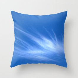 Ivory Strands of Clouds in Bright Blue Sky Throw Pillow