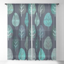Watercolor Forest Pattern #7 Sheer Curtain