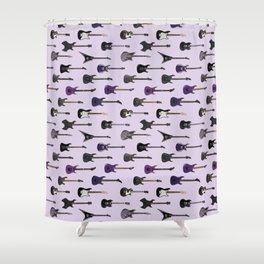 Guitars  - purple and black Shower Curtain