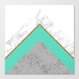 Concrete Teal Triangles Canvas Print