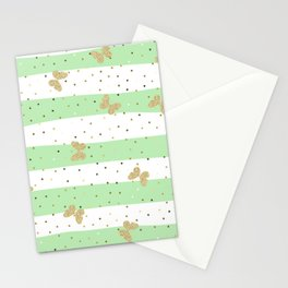 Butterfly Christmas seamless pattern and Gold Confetti on Mint Green and White Stripes Background Stationery Cards