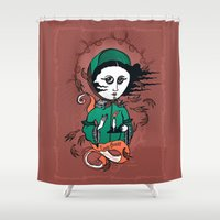 writer Shower Curtains featuring Emily Brontë Holy Writer by roberto lanznaster