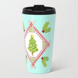 Aqua Holiday Polka Dot Tree Travel Mug