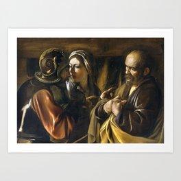 The Denial of Saint Peter by Caravaggio (1610) Art Print