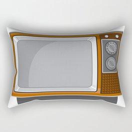 Vintage Television Set 1970s Retro Style Rectangular Pillow