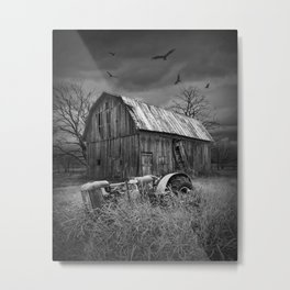 The Death of a Small Midwest in black & white Metal Print