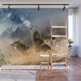 Wolfs under the mountain's sky Wall Mural