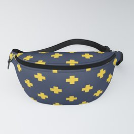 Yellow Swiss Cross Pattern on Navy Blue background Fanny Pack