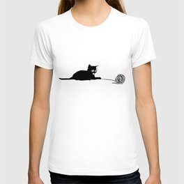 Black cat with ball T-shirt