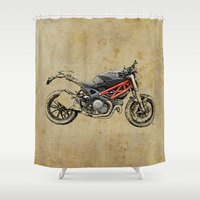 ducati Shower Curtains featuring Ducati Monster 796 by Larsson Stevensem