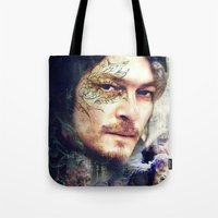 daryl dixon Tote Bags featuring Daryl Dixon by András Récze