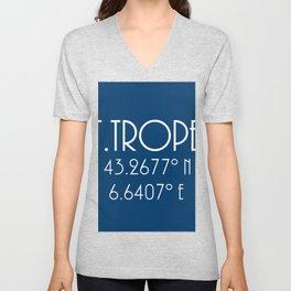 St. Tropez Latitude Longitude Unisex V-Neck