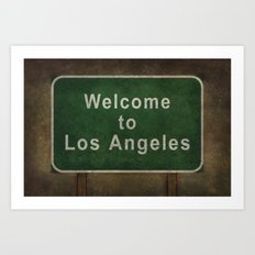 Welcome to Los Angeles, road sign illustration Art Print