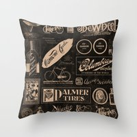 cycling Throw Pillows featuring Re. Cycling by NOT MY TYPE