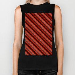 Bright Red and Black Diagonal LTR Var Size Stripes Biker Tank