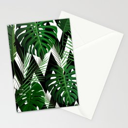 Geometrical green black white tropical monster leaves Stationery Cards