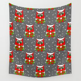 Christmas Snow Owl Pattern Wall Tapestry