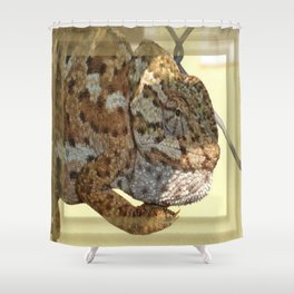 Chameleon Hanging On A Wire Fence Shower Curtain
