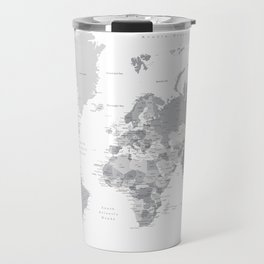 """Gray world map with cities, states and capitals, """"in the city"""" Travel Mug"""