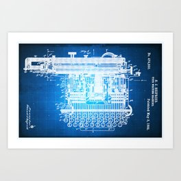 Type Writing Machine Patent Blueprint Drawing Art Print