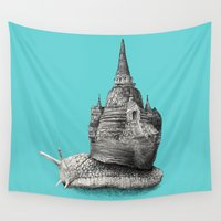 poland Wall Tapestries featuring The Snail's Dream (monochrome option) by Eric Fan
