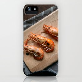 Grilled shrimps on wooden board iPhone Case