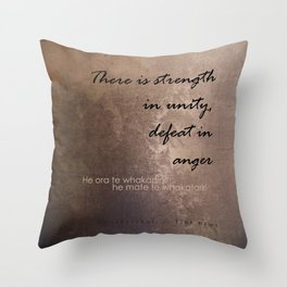Strength in Unity - Defeat in Anger - Maori Wisdom - metalic Throw Pillow