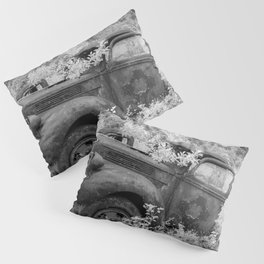 Rusting Pickup with Tree Grown in Cab Black and White Infrared Pillow Sham
