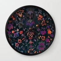 bali Wall Clocks featuring Bali Floral by Nikkistrange