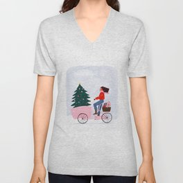 Christmas bicycle Unisex V-Neck