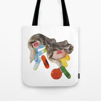 pills Tote Bags featuring PILLS by Luca Mainini