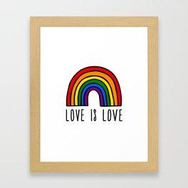 Love is love rainbow Framed Art Print