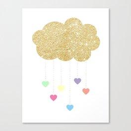 Girls Glitter Cloud Raining Pastel Hearts Canvas Print