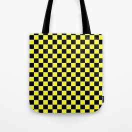 Black and Electric Yellow Checkerboard Tote Bag
