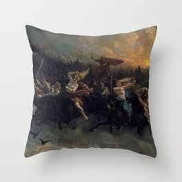 Peter Nicolai Arbo The Wild Hunt Of Odin Restored Throw Pillow
