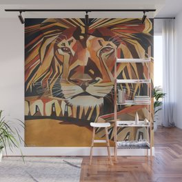 Lion Vector In Cubist Style Wall Mural