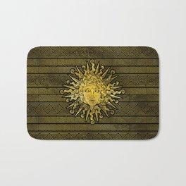 Apollo Sun Symbol on Greek Key Pattern Bath Mat