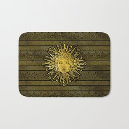 Apollo Sun Symbol on Greek Key Pattern Bath Mat