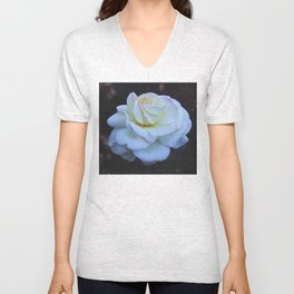 Spaced Out White Rose Unisex V-Neck