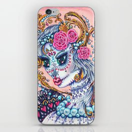 Pink Victorian Queen of Hearts wearing roses in Sugar Skull Make up for Day of the Dead Festival iPhone Skin