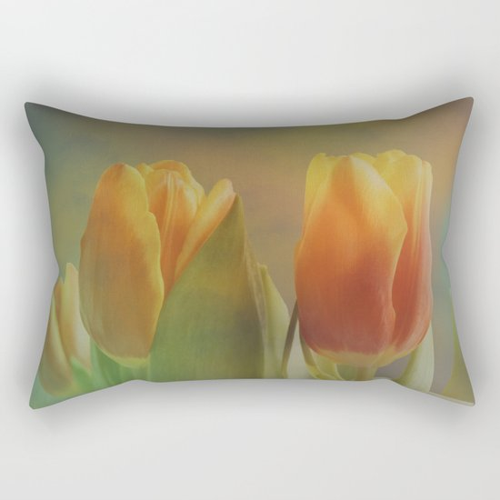 Painterly spring tulips on an abstract background Rectangular Pillow