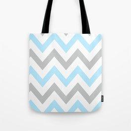 BLUE & GRAY CHEVRON Tote Bag