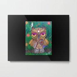 OWL IN THE JUNGLE ZENTANGLE Metal Print