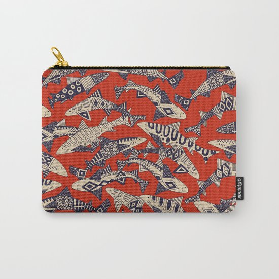shark party red Carry-All Pouch