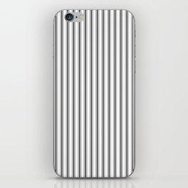 Mattress Ticking Narrow Striped Pattern in Dark Black and White iPhone Skin