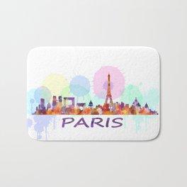 Paris City Skyline HQ, Watercolor Bath Mat