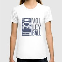 volleyball T-shirts featuring Ace It Volleyball (blue) by raineon