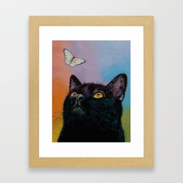 Black Cat Butterfly Framed Art Print