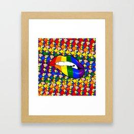LGBTQ Rainbow Lips Bite Framed Art Print