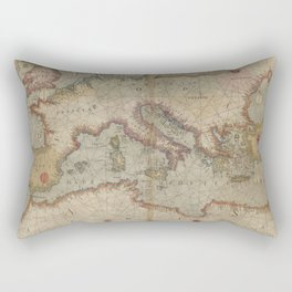 Vintage Map of Europe and The Mediterranean (1569) Rectangular Pillow